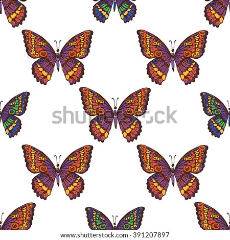Vector seamless pattern with colorful butterfly - stock vector