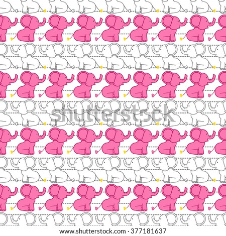Vector seamless pattern with colorful cartoon african elephants. Animal background of cute indian elephant silhouettes for kids. Doodle jungle or zoo illustration for children. Africa. India. - stock vector