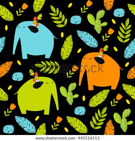 Vector seamless pattern with colorful cartoon elephants, flowers, cactus leaves. Bright multi-colored pattern. Safari, Africa, the Indian jungle. - stock vector