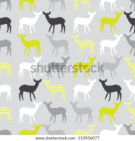 Vector seamless pattern with colorful deers - stock vector