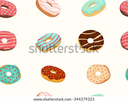 Vector seamless pattern with colorful donuts with glaze and sprinkles. Flat illustration. - stock vector