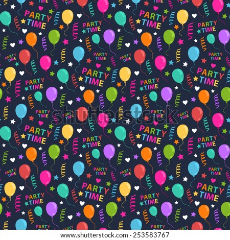 Vector seamless pattern with colorful heart,star,balloon,streamers,text party time on a dark background - stock vector