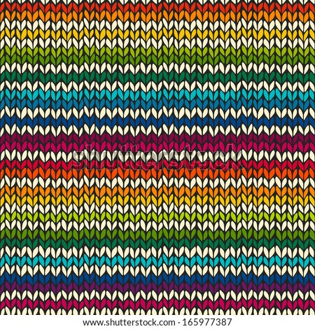 Vector seamless pattern with colorful rainbow hand drawn knitted stripes - stock vector