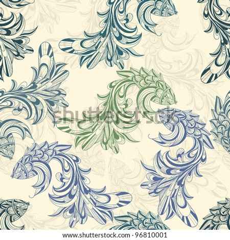 vector seamless pattern with concept  fishes - stock vector