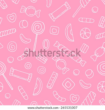 Vector seamless pattern with contour sweets and candies on pink background - stock vector