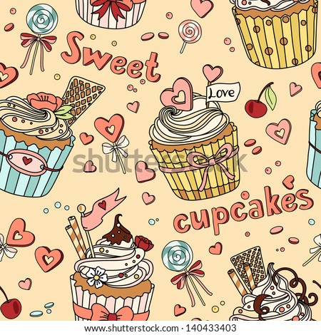 Vector seamless pattern with cupcakes of coffee and lollipops - stock vector