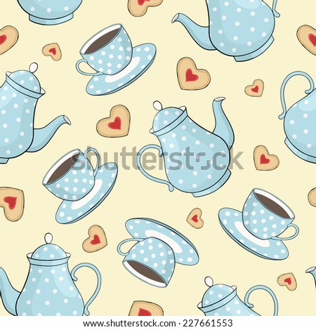 vector seamless pattern with cups, teapots and cookies - stock vector