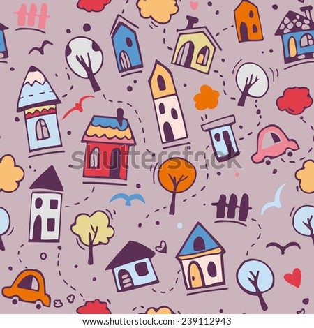 Vector seamless pattern with cute abstract town houses, kids doodle graphic style - stock vector