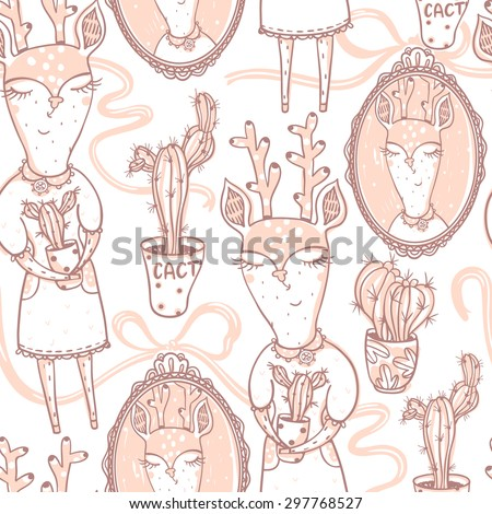 vector  seamless pattern with cute deers and vintage portraits - stock vector