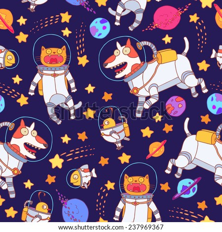 Vector seamless pattern with cute dogs, cats, birds and fish into the bright spacesuits, cosmic pattern. - stock vector