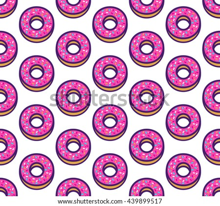 Vector seamless pattern with cute donuts. Cartoon illustration with pastries. Colorful background.  - stock vector