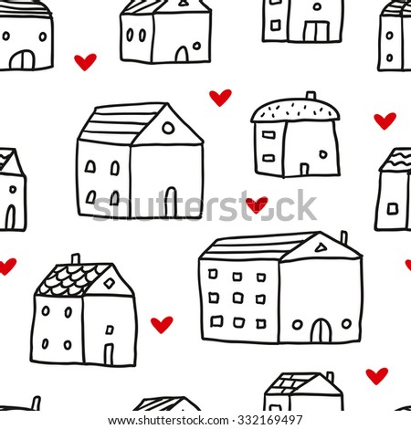 Vector seamless pattern with cute doodle houses and hearts, isolated on white - stock vector