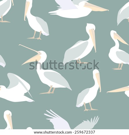 Vector seamless pattern with cute pelican characters. Perfect for prints and backgrounds. - stock vector