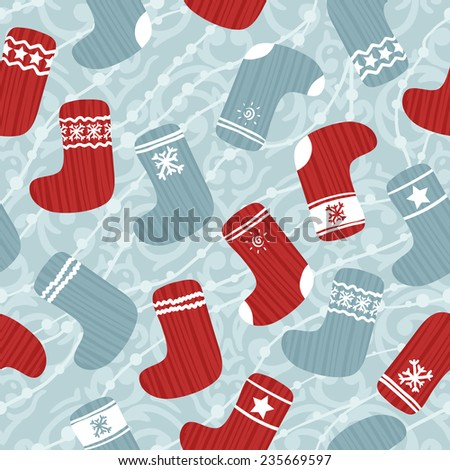 Vector seamless pattern with cute retro colored Christmas stockings - stock vector