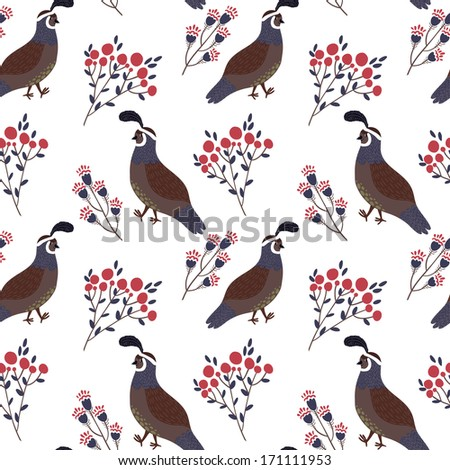 Vector seamless pattern with cute smiling quails and floral elements on the white background - stock vector