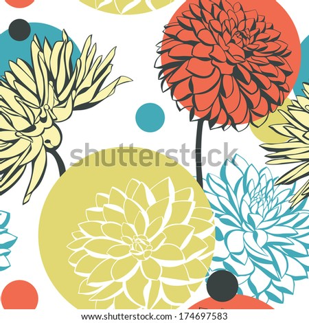 Vector seamless pattern with decorative dahlia flowers and abstract elements.  - stock vector