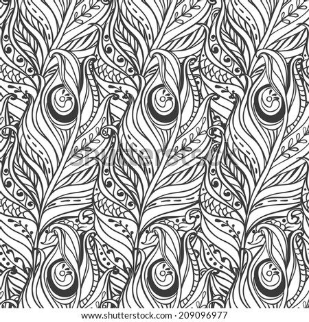 Vector Seamless pattern with decorative feather - stock vector
