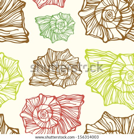 Vector seamless pattern with decorative seashells  - stock vector