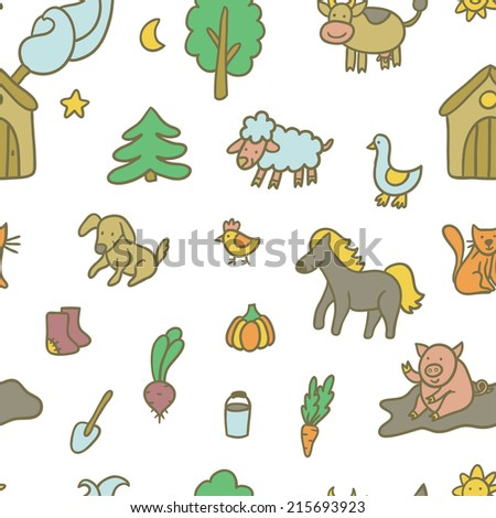 Vector seamless pattern with different farm elements: house, trees, vegetables, shovel, bucket, boots and domestic animals: sheep, cow, pig, horse, cat, dog, chicken,goose. Funny hand drawing texture. - stock vector