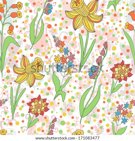 Vector seamless pattern with different flowers on the floral background - stock vector