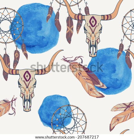 Vector seamless pattern with dream catcher, bull skull, feathers and watercolor element - stock vector