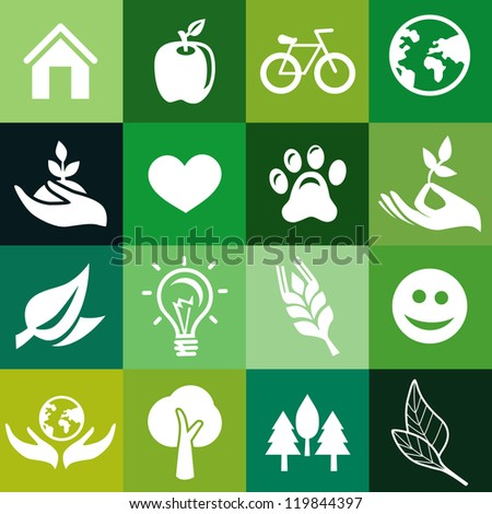 Vector seamless pattern with ecology signs and symbols -green abstract background - stock vector