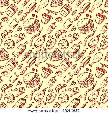 Vector seamless pattern with fast food products in doodle style - stock vector