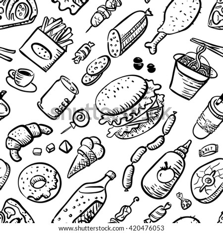 Vector seamless pattern with fast food products in sketchy style - stock vector