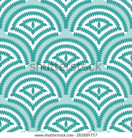 Vector seamless pattern with fish scale layout for wallpaper or textile - stock vector