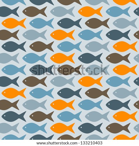 vector seamless pattern with fishes, fully editable eps 8 file with clipping masks and pattern in swatch menu - stock vector