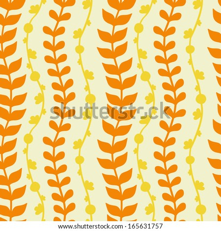 Vector Seamless Pattern with Floral Branches - stock vector