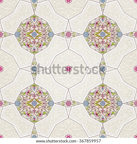 Vector seamless pattern with floral ornament. Vintage design element in Eastern style. Ornamental lace tracery. Ornate geometric decor for wallpaper. Traditional arabic decor on beige background. - stock vector