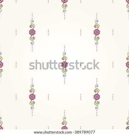 Vector seamless pattern with floral ornament. Vintage design element in Eastern style. Ornamental lace tracery. Ornate decor for wallpaper. Small floral vignette on beige background. - stock vector