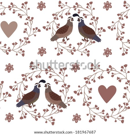 Vector seamless pattern with floral wreathes, hearts and couples of cute smiling quails on the white background - stock vector