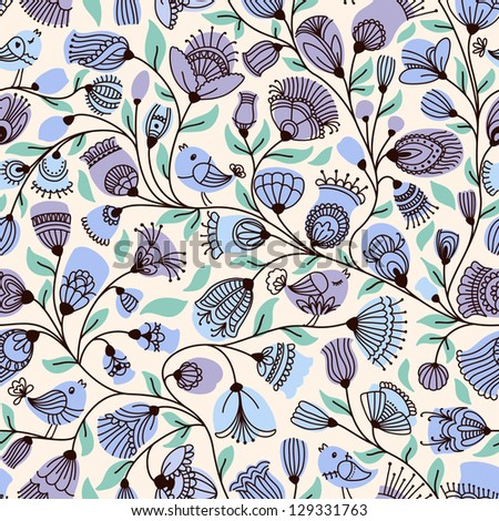 Vector seamless pattern with flower and birds. - stock vector