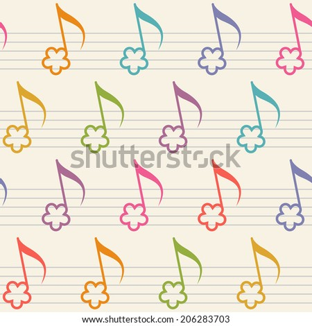 Vector seamless pattern with flower notes. Musical background in childish style. Illustration with concept of merry melody for print, web - stock vector
