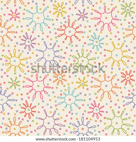Vector seamless pattern with flower of doodle. Simple decorative texture in hand drawn childish style - stock vector
