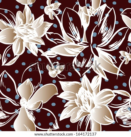 Vector seamless pattern with flowers - stock vector