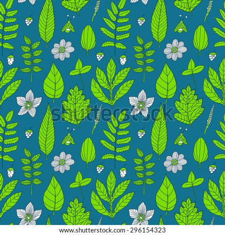 Vector seamless pattern with flowers, leaves, berries, branches and bee. Natural floral hand drawing texture. Bright forest background. - stock vector