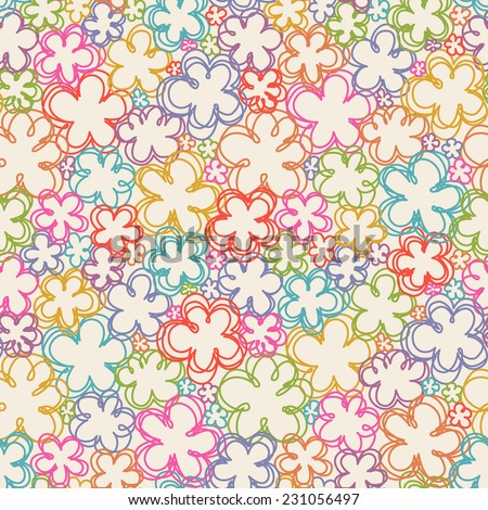 Vector seamless pattern with flowers of doodles. Floral background in hand drawn childish style. Ornamental decorative illustration for print, web - stock vector