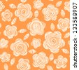 Vector seamless pattern with flowers of doodles made using stencil. Cute floral orange background in hand draw childish style. Abstract summery simple illustration. Ornamental texture for print, web - stock vector