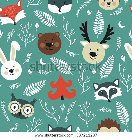 Vector seamless pattern with forest animals: deer, fox, rabbit, owl, raccoon, bear, wolf, hedgehog. Repeated texture with cute cartoon characters. - stock vector