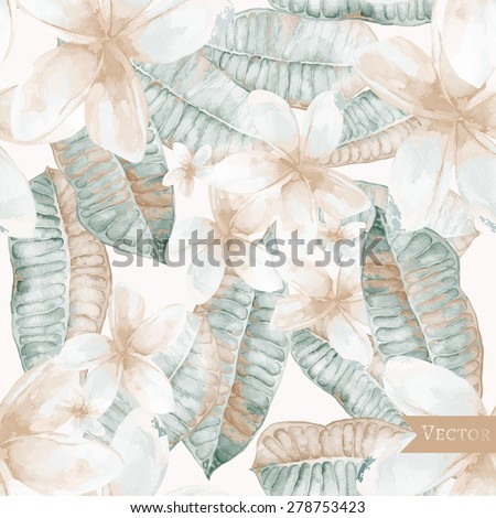 Vector seamless pattern with frangipani leaves and flowers. Textile pattern with tropical modern flowers. - stock vector