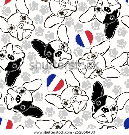 Vector seamless pattern with French Bulldog, traces  and Heart flag.  - stock vector