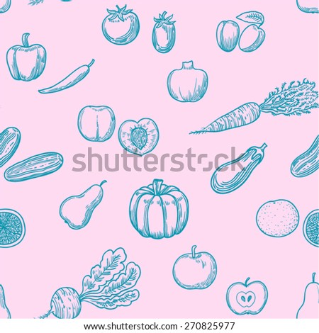 Vector seamless pattern with fruits and vegetables.  - stock vector