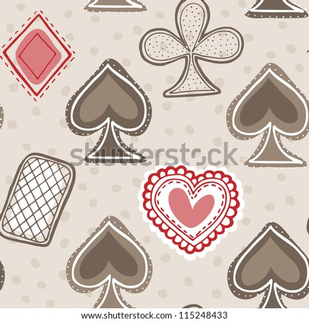 Vector seamless pattern with game cards. Wonderland set - stock vector