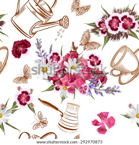 Vector seamless pattern with garden flowers - stock vector