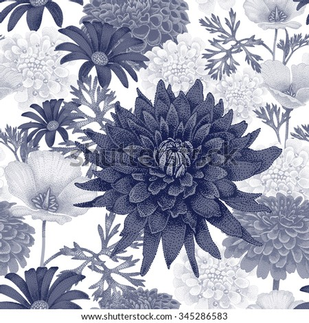 Vector seamless pattern with garden flowers. Floral illustration in vintage style for decoration fabrics, textiles, paper, wallpaper. Black and white. - stock vector