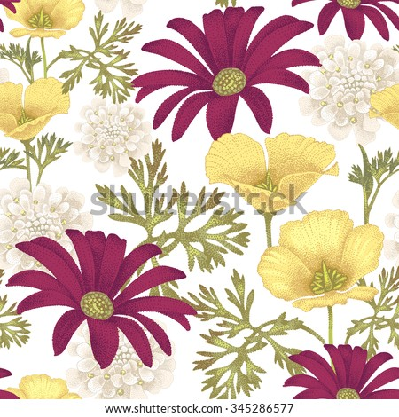 Vector seamless pattern with garden flowers. Floral illustration in vintage style on a white background. - stock vector