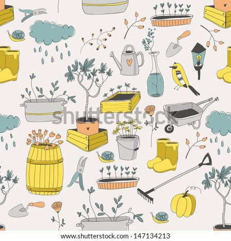 Vector seamless pattern with gardening tools - stock vector